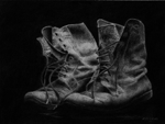 "Old Boots,          charcoal/paper, 11""x14"""