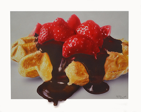 "Waffle & Strawberries, airbrush/board, 8""x10"""