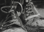 "Sneakers,                         charcoal/paper, 8""x10"""