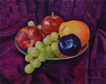 "Still Life w/grapes,         oil/canvas, 8""x10"""